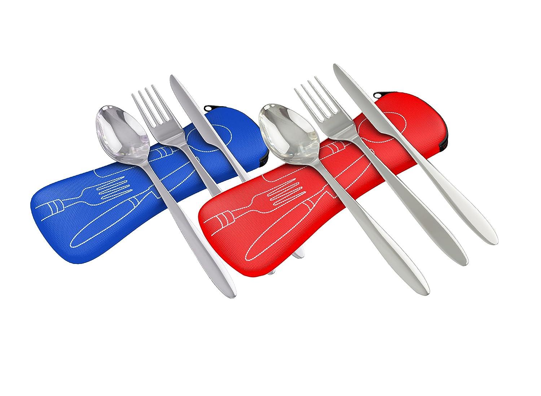 Acero inoxidable de 3 piezas (cuchillo, tenedor, cuchara) ligero, cubertería de camping de viaje con funda de neopreno…