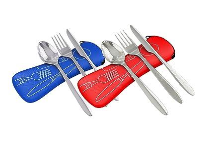 Acero inoxidable de 3 piezas (cuchillo, tenedor, cuchara) ligero, cubertería de