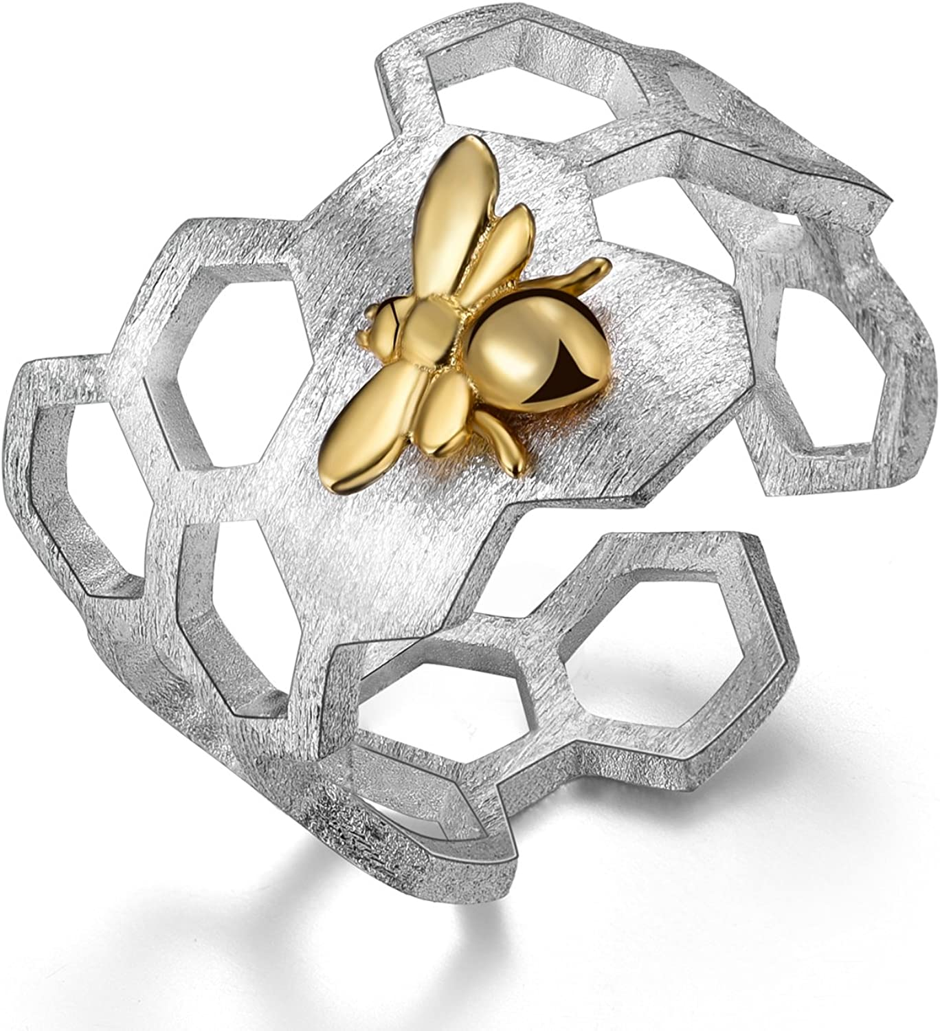 Honeycomb and Bee Adjustable Ring Sterling Silver,Bee Open Cuff Ring,Honeycomb Ring,Gold Bee and Honeycomb Ring,Perfect Gift,Minimalist Ring