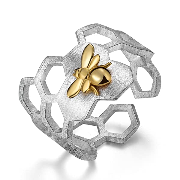 Lotus Fun S925 Sterling Silver Rings Handmade Unique Thumb Ring Natural Open Honeycomb Bee Jewelry Gift for Women and Girls (Color: Multicolor, Tamaño: Adjustable)