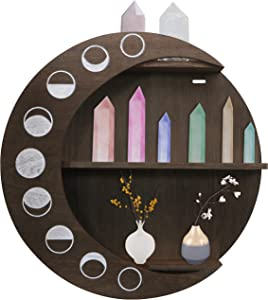 Eco-Birch Moon Shelf for Crystals - Large 3 Tier Wooden Crescent Moon Phase Hanging Wall Decor – Phases of The Moon Boho Moon Shaped Display Shelves Set for Nursery, Crystal Stones, Essential Oils
