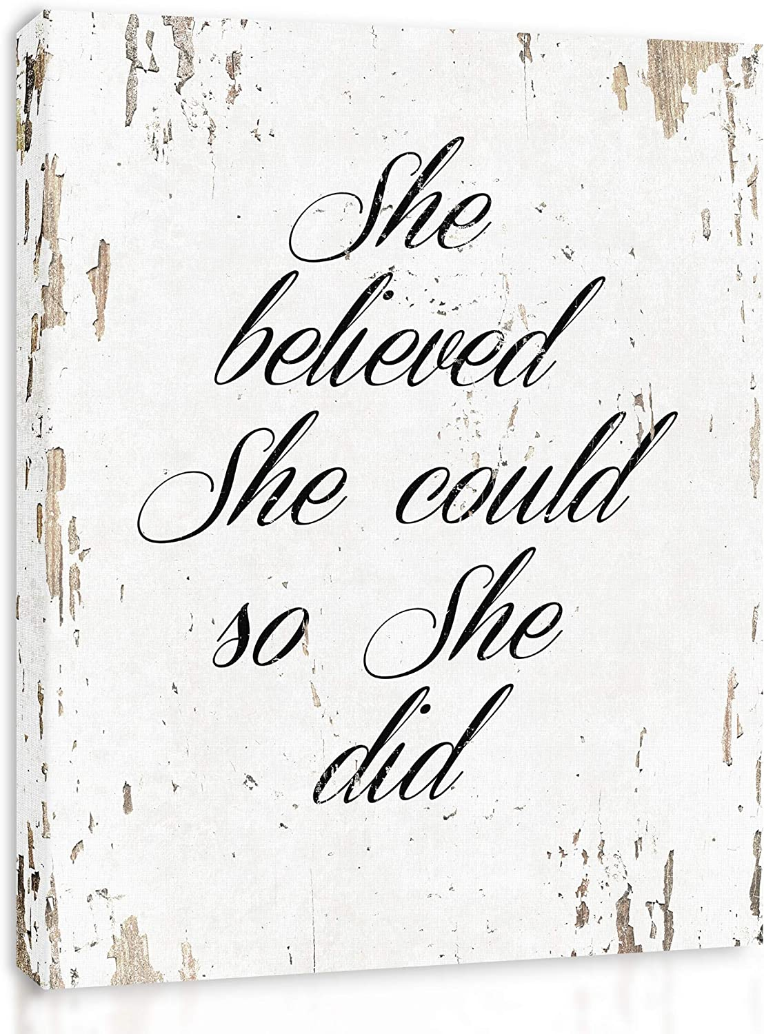 She Believed She Could So She Did - Framed - Quote Motivational Wall Art Canvas Print Home Decor, Gallery Wrap Inner Frame, White, 7x9