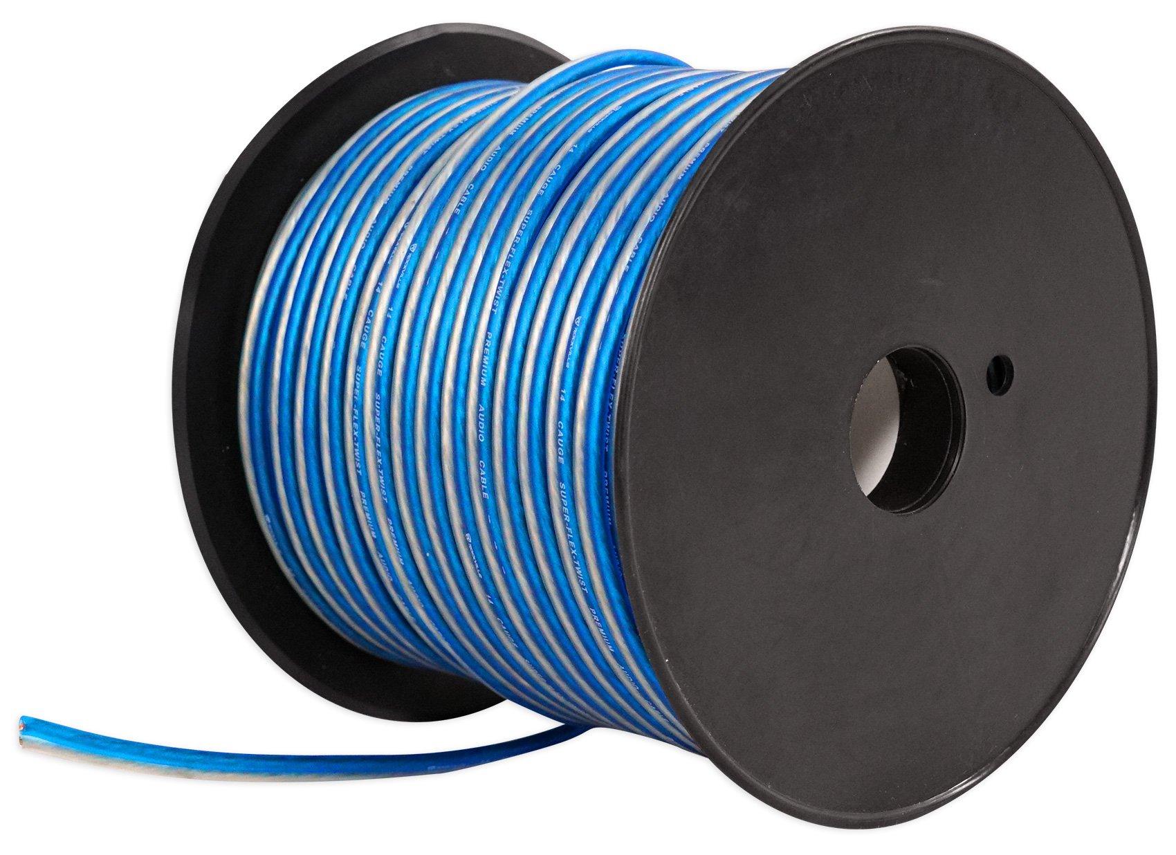 Rockville R14GBLS200 Silver/Blue 14 Gauge 200' Ft Spool Car Audio Speaker Wire