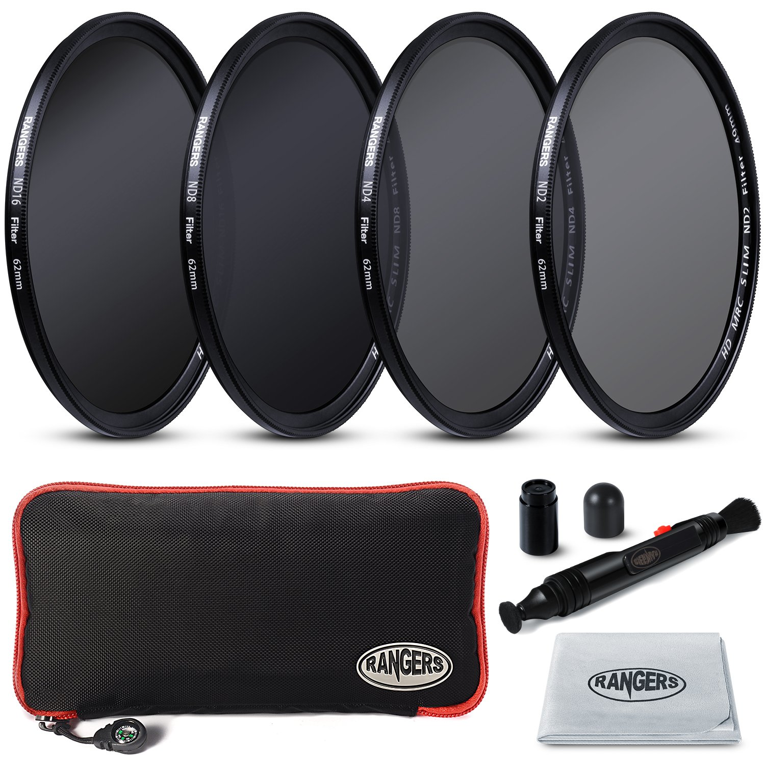 Rangers 62mm Full ND2, ND4, ND8, ND16 Neutral Density Filters and Carrying Case + Lens Cleaning Cloth + Lens Cleaning Pen RA-RA019