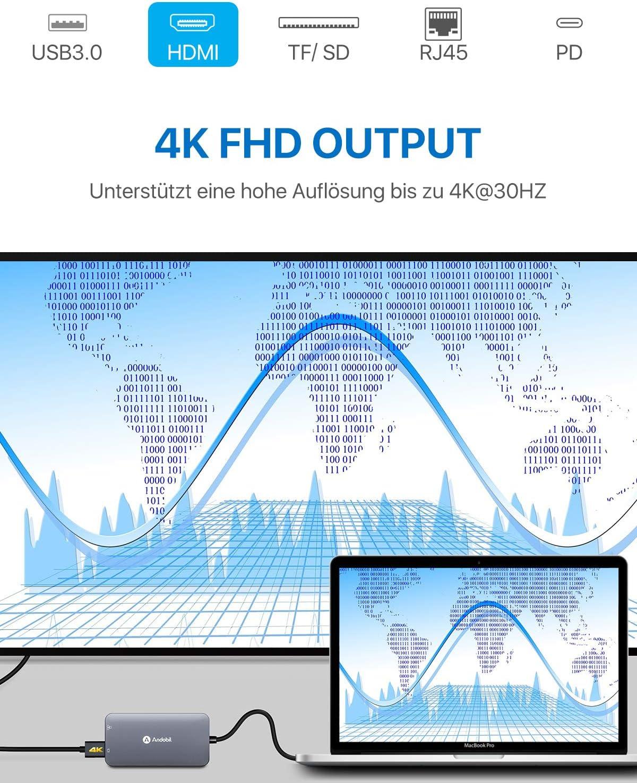andobil Hub 9/in 1/Adattatore in Alluminio con USB C USB C Port