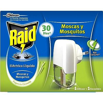 Raid - Difusor eléctrico anti mosquitos líquido fragancia Citronella, aparato+ recambio, 30 días