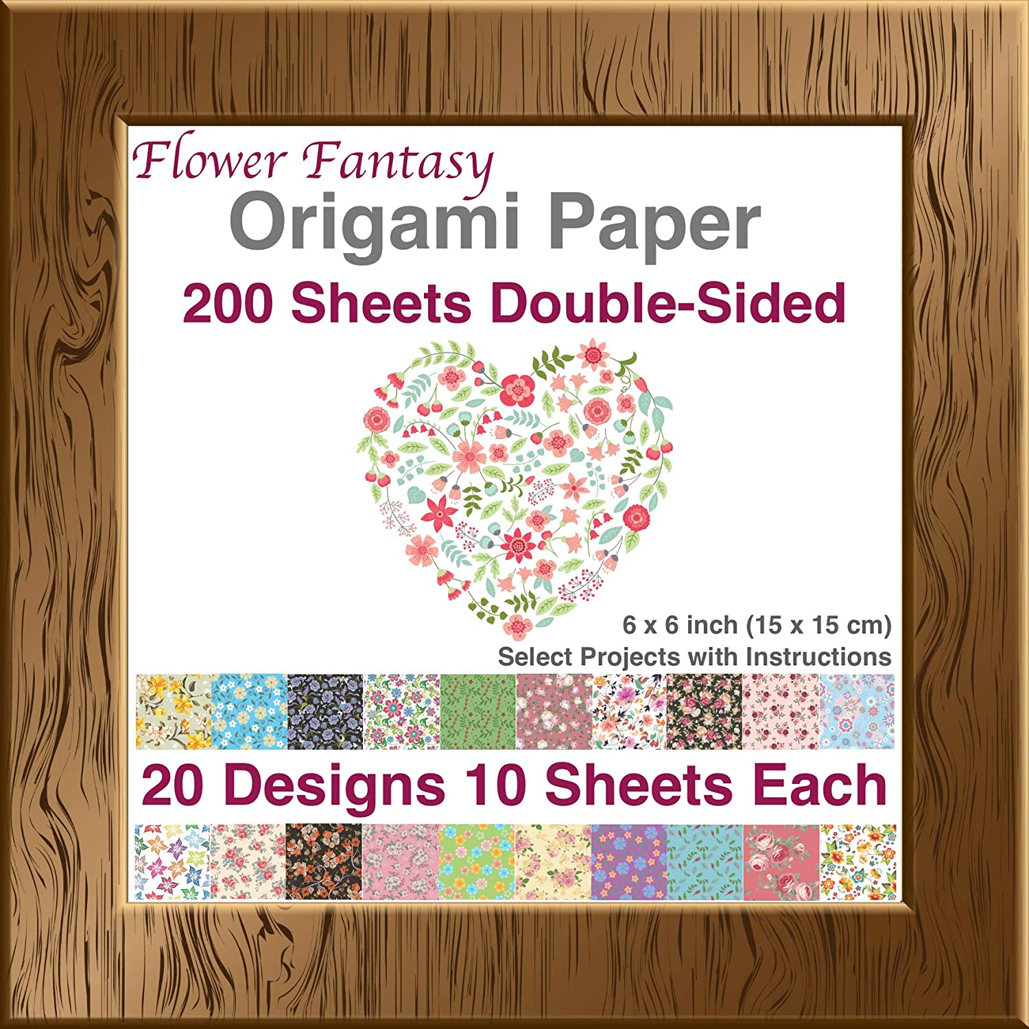 Premium Origami Paper of Japanese Washi and Moroccan Mosaic Patterns Decoration and Kids 20 Beautiful Designs 6x6 inch Double Sided 100 Sheets Easy Folding for Paper Crafts