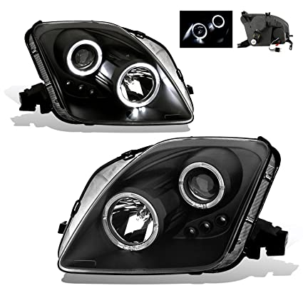 SPPC Projector Led Headlights Halo Black Assembly Set For Honda Prelude -  (Pair) Driver Left and Passenger Right Side Replacement Headlamp