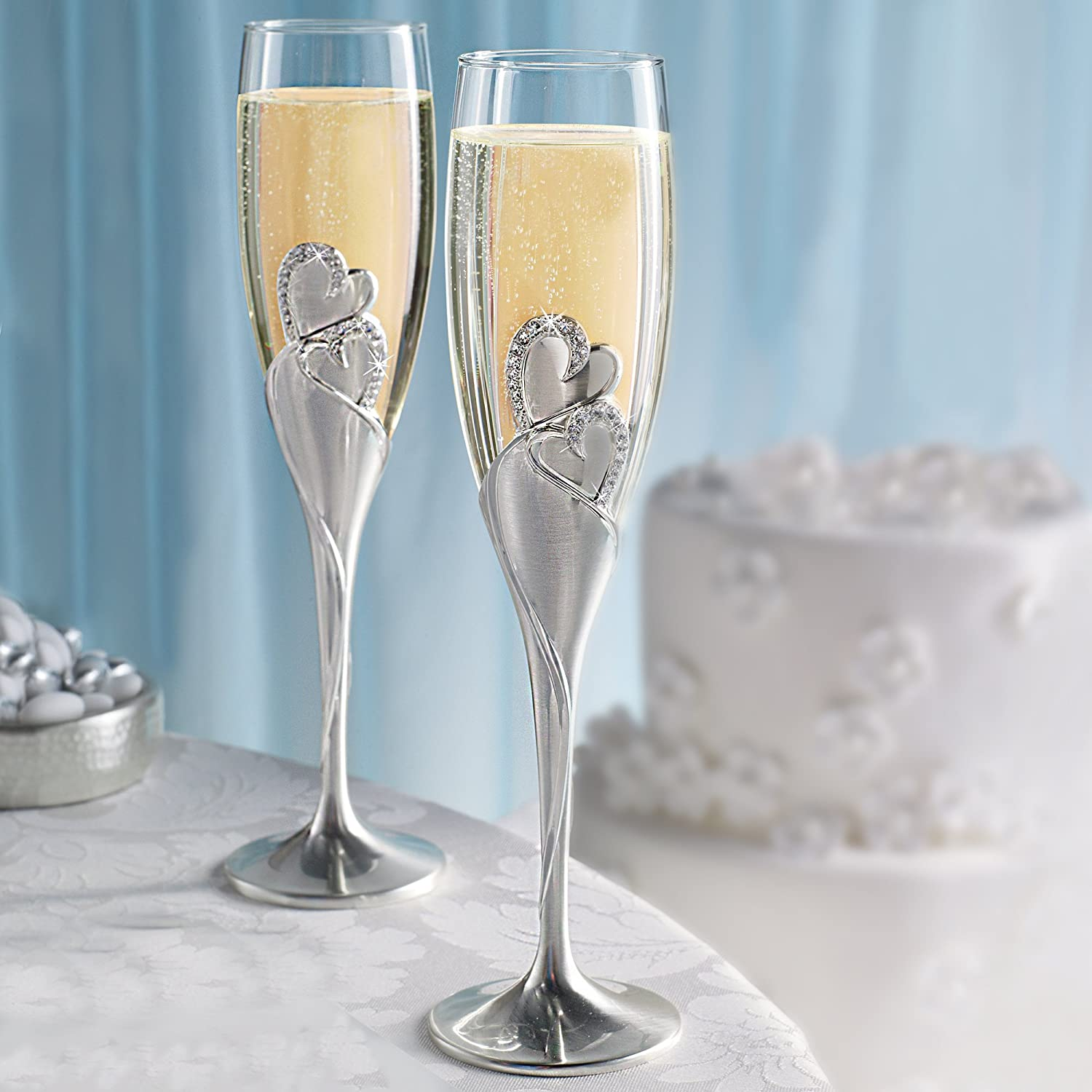 Silver Set of 2 Wedding Accessories Sparkling Love Champagne Flute