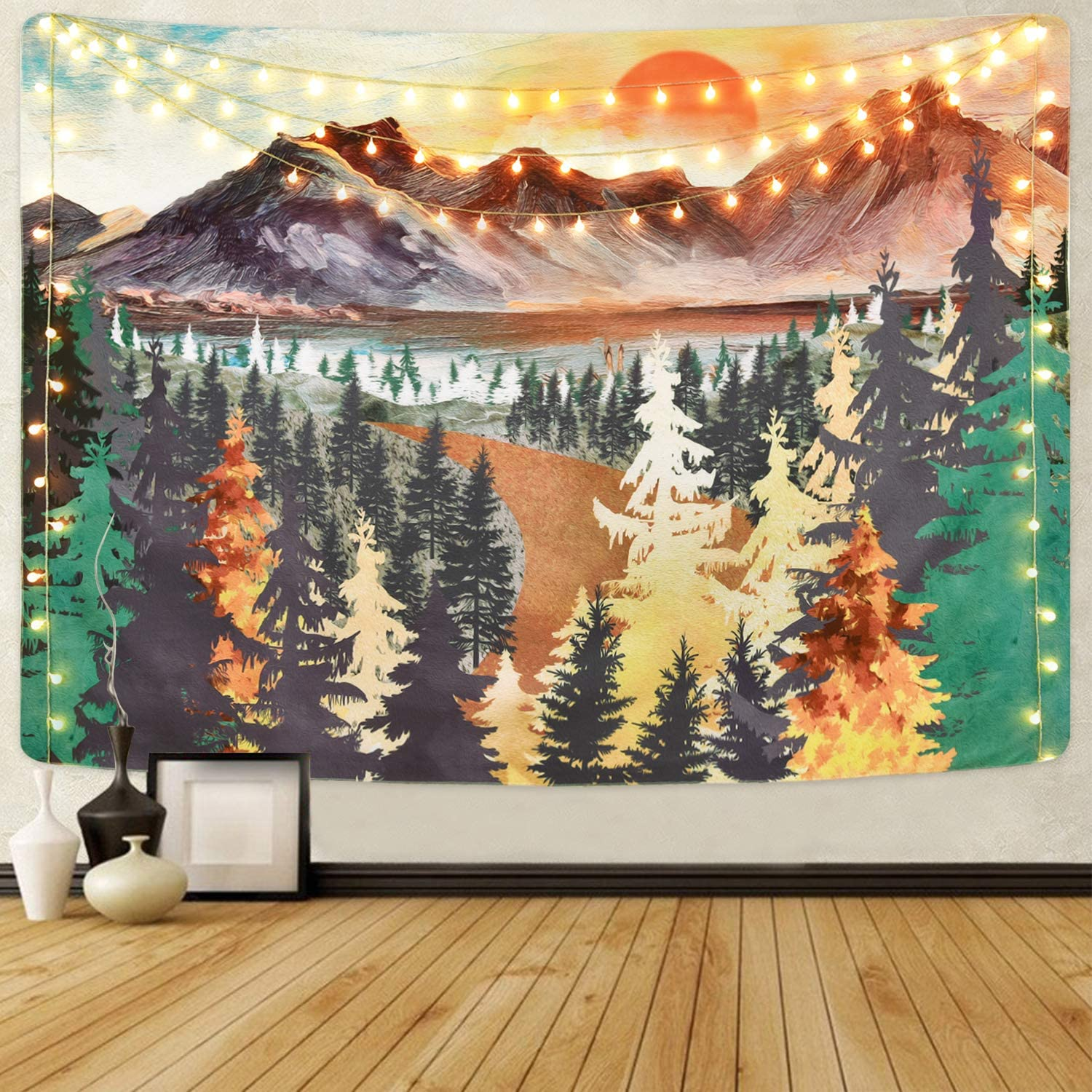 Mountain Tapestry Sunset Tapestries Forest Trees Tapestry Nature Landscape Art Tapestry Wall Hanging for Room(59.1 x 59.1 inches)