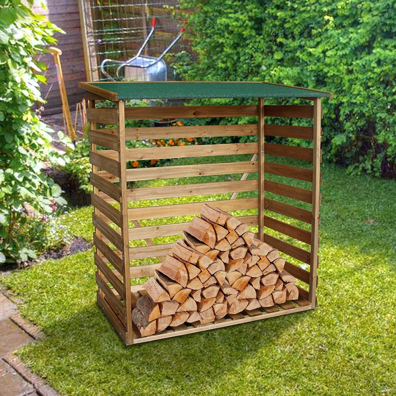 MCombo Kaminholzregal mit R/ückwand Brennholzregal Kaminholzunterstand Holz braun