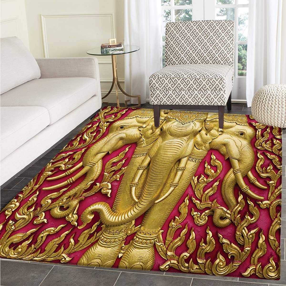 Elephant Bath Mat tub Yellow Toned Elephant Motif on Door Thai Temple Spirituality Statue Classic Door Mats Inside Bathroom Mat Non Slip Backing 30''x40'' Fuchsia Mustard