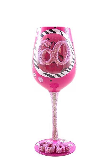Top Shelf 60th Birthday Wine Glass Hand Painted