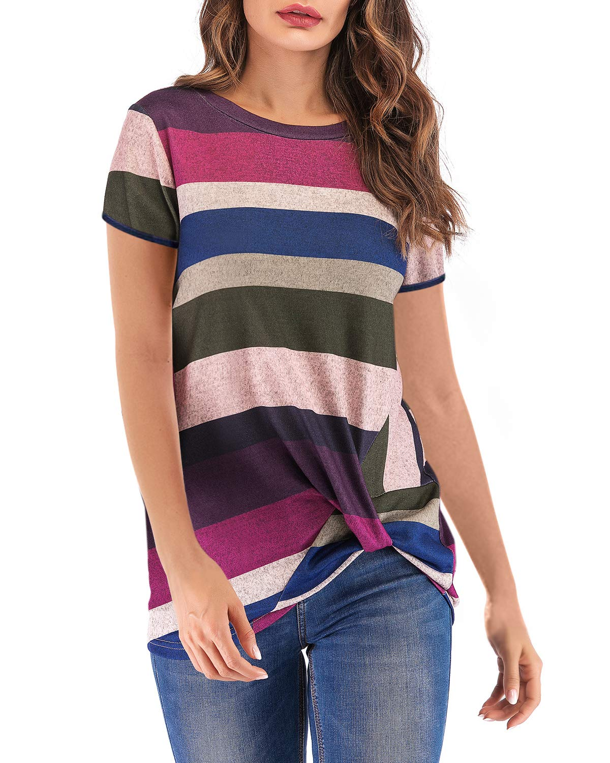 Eanklosco Women's Tops Striped T-Shirts Front Knot Tunic Casual Blouses Short Sleeve (L/UK 12, Dark Purple)