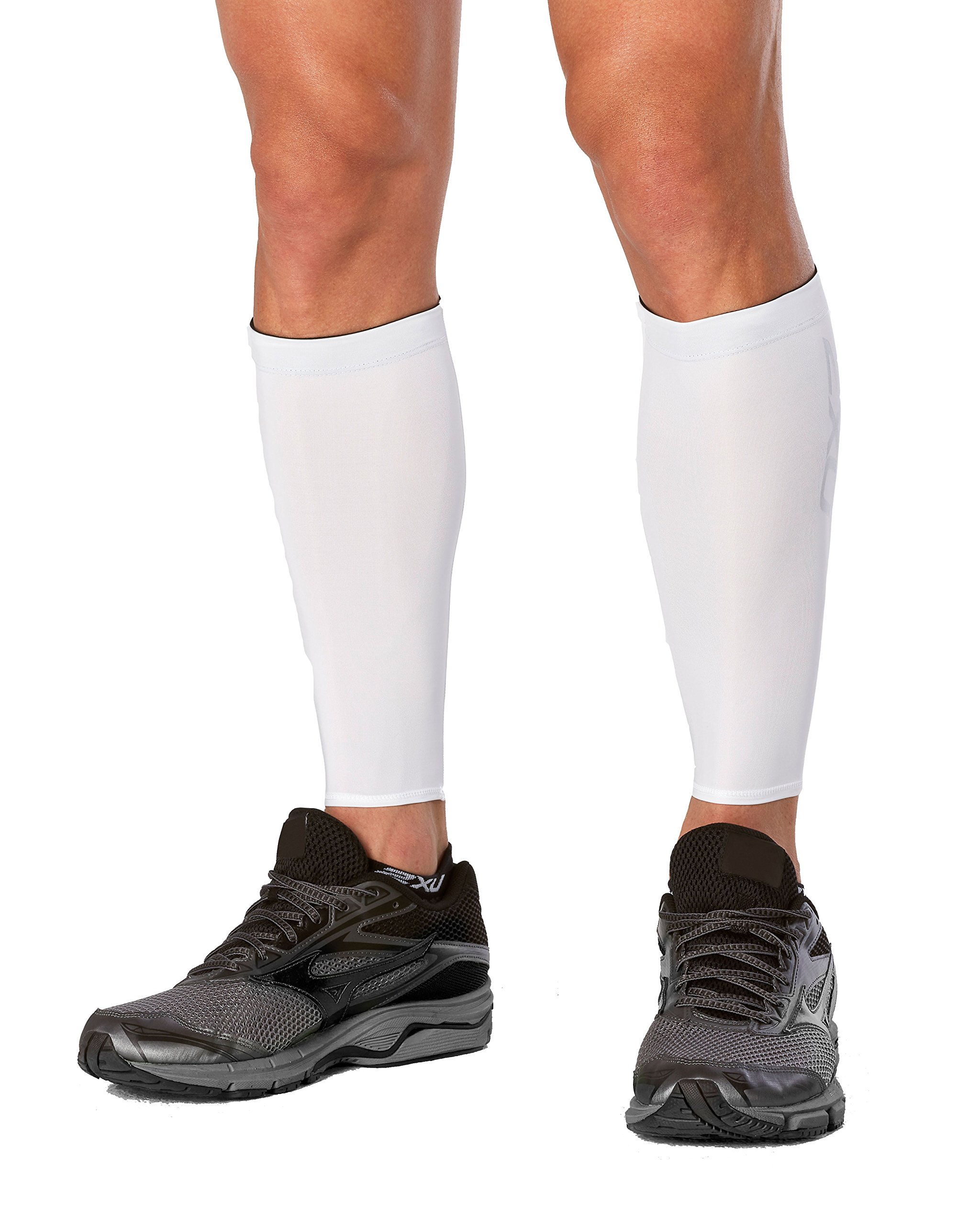 2XU Compression Calf Guards, White/White, Medium
