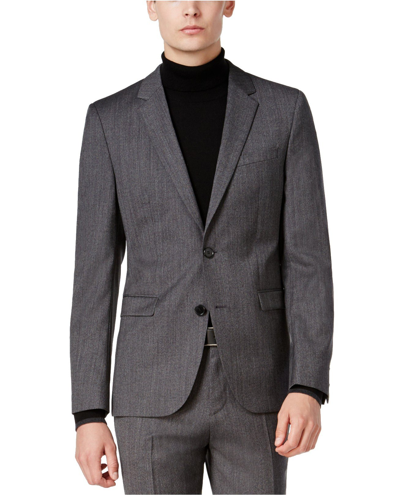 Hugo Boss Astian/Hets Extra Slim Fit 2 Piece Men's 100% Virgin Wool Suit Melange Herringbone 50320624 033 by HUGO (46 Regular USA Jacket / 40 Waist Pants) by HUGO BOSS (Image #2)