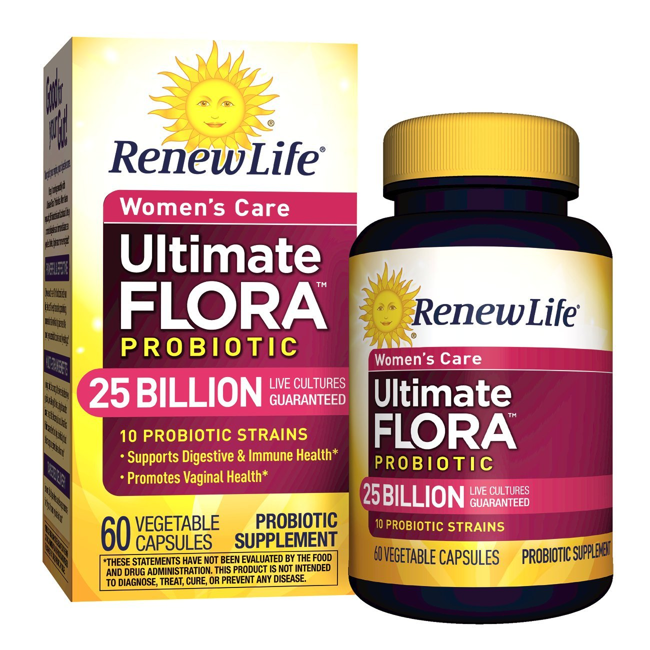 Renew Life Women's Probiotic - Ultimate Flora Probiotic Women's Care, Shelf Stable Probiotic Supplement - 25 Billion - 60 Vegetable Capsules