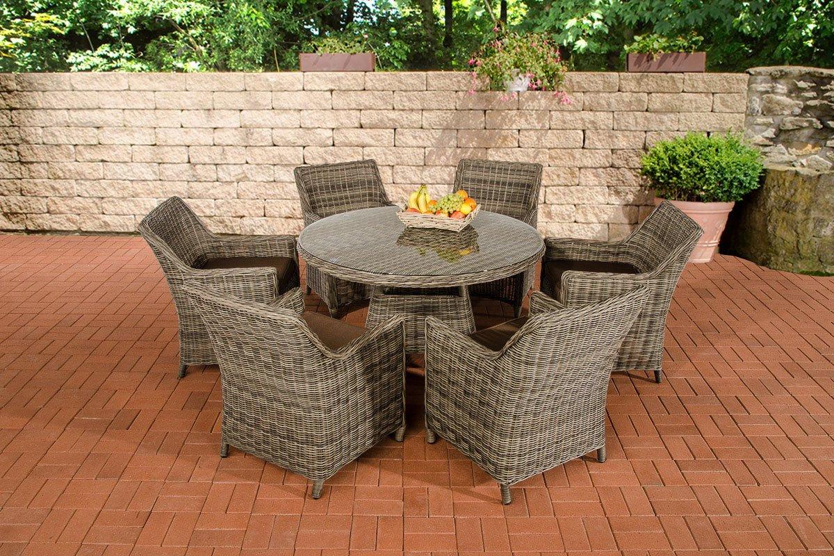 CLP Polyrattan Sitzgruppe GINOSA grau-meliert, rundes 5 mm Rattan, Aluminium Gestell (6 x Sessel Sandnes + runder Tisch Ø 130 cm + 10 cm dicke Polster) grau-meliert, Bezugfarbe terrabraun
