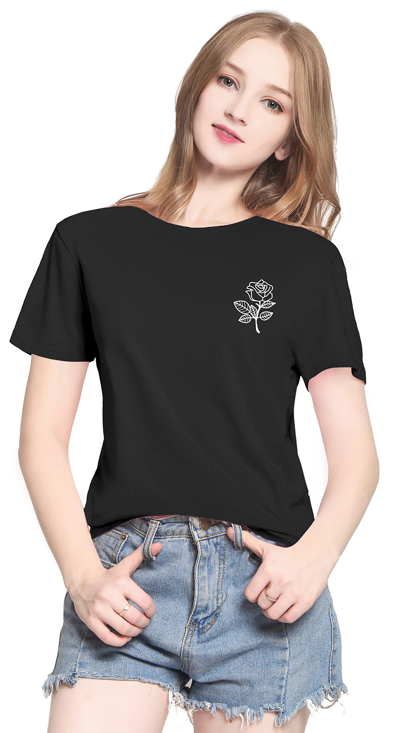 PINJIA Womens Cute Letter Printed Graphic Funny Tshirts Top Tees(MX15)(XXL.Black Rose)