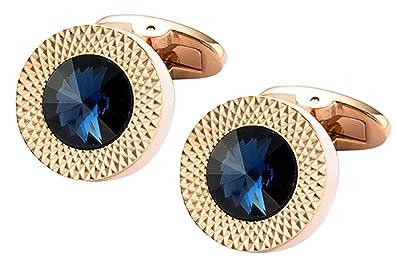 6a8dfa10ba2b Cufflinks Direct Sapphire Blue Swarovski Crystal Gem in Rose Gold Plate Men  Gift (Cufflinks With