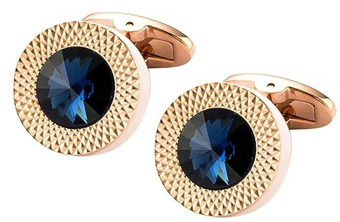 81718e47f Cufflinks Direct Sapphire Blue Swarovski Crystal Gem in Rose Gold Plate Men  Gift (Cufflinks with Gift Box): Amazon.co.uk: Jewellery