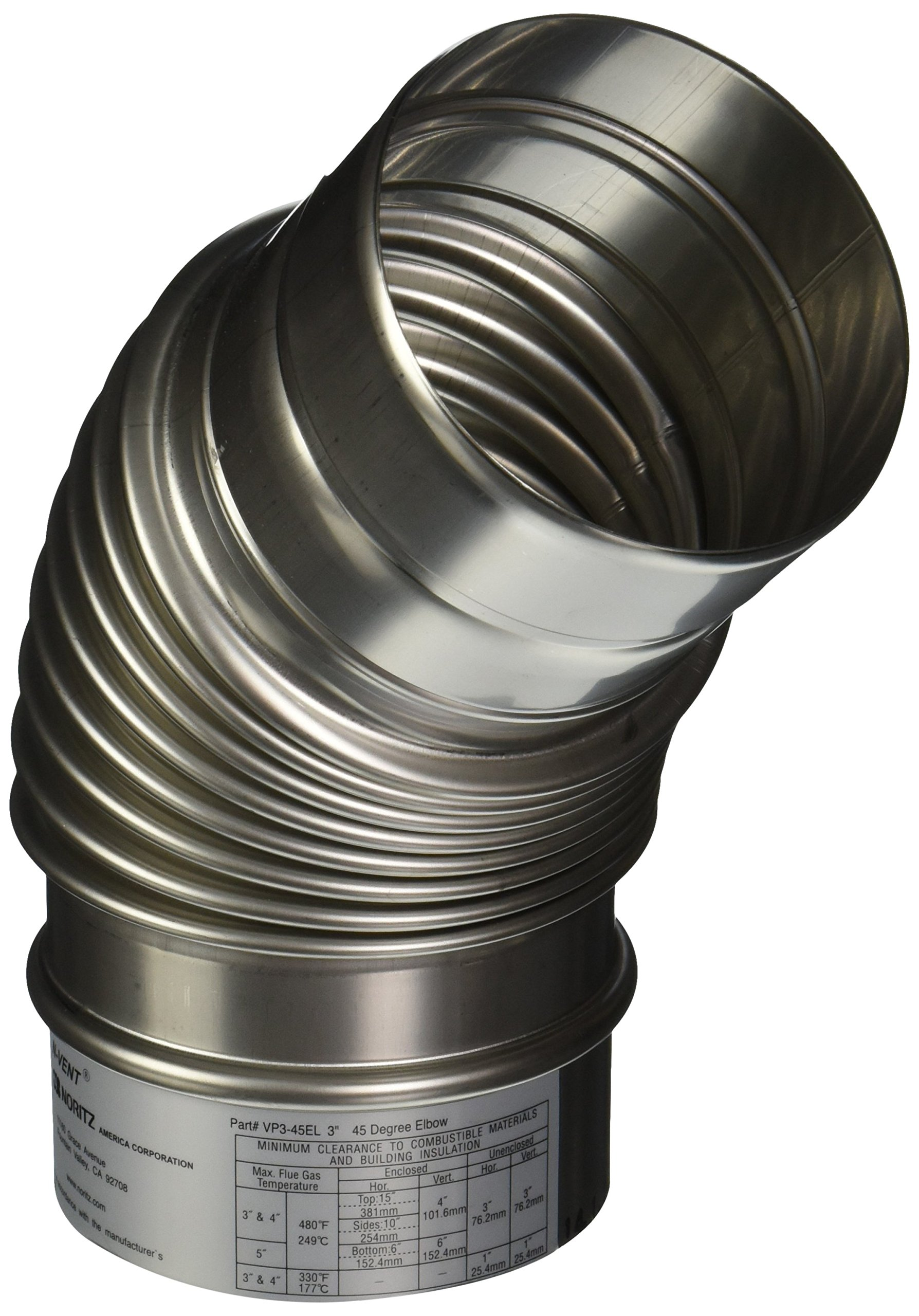 Noritz VP3-45ELBOW 3-Inch Diameter by 45 Degree Stainless Steel Single Wall Venting