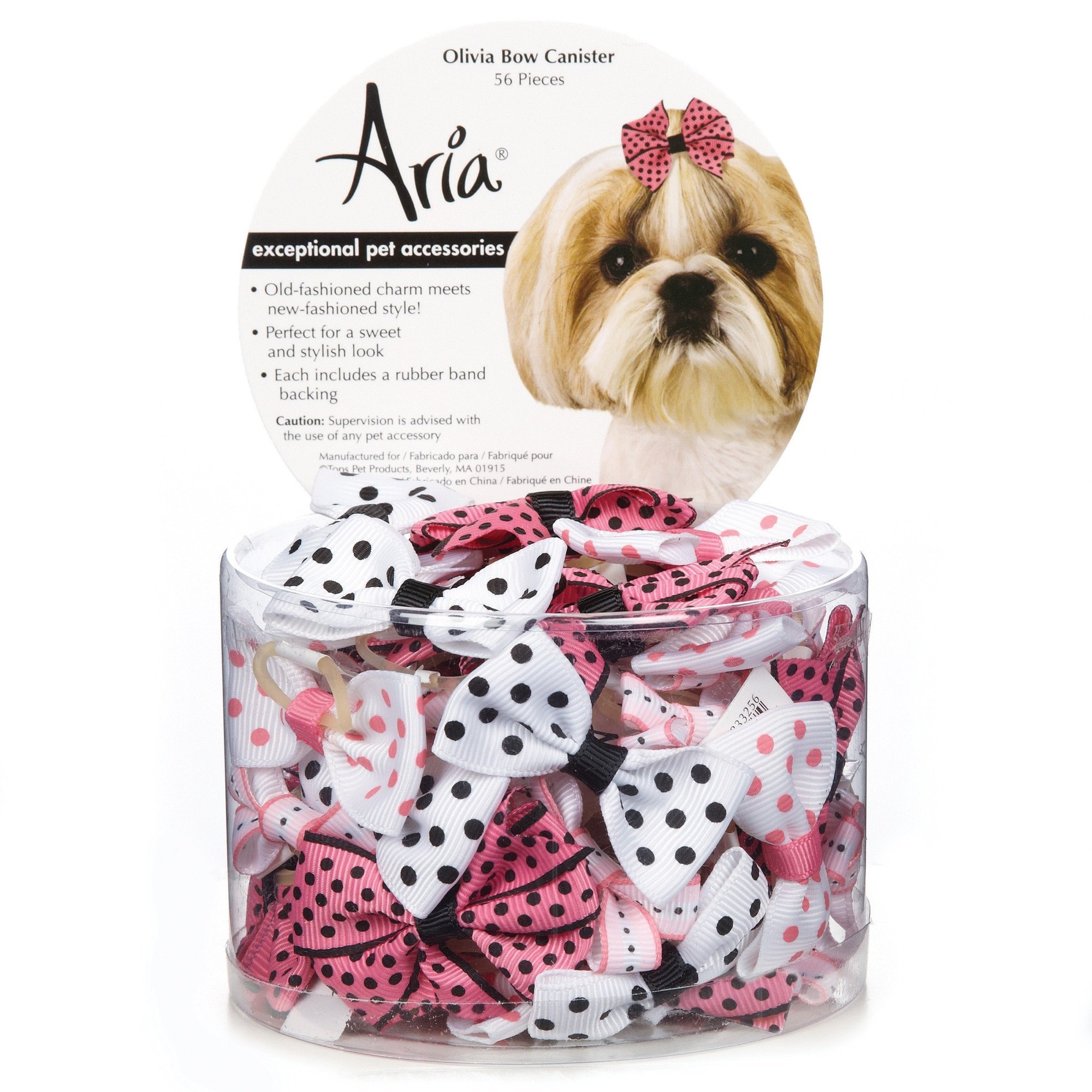 Aria Olivia Bows for Dogs, 56-Piece Canisters by Aria