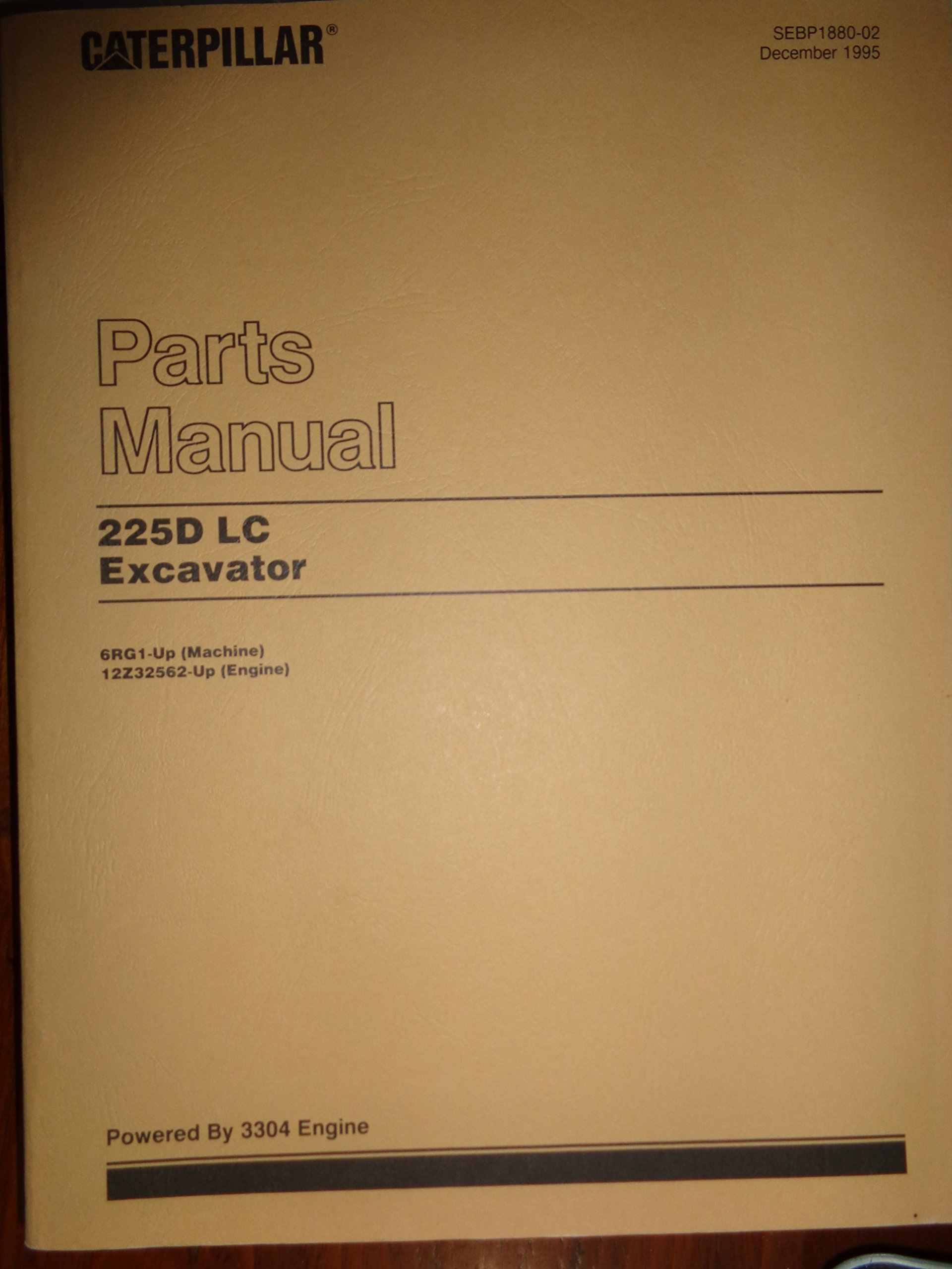 Caterpillar 225D LC Excavator Parts Catalog Manual s/n 6RG1 and up