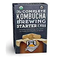 The Fermentaholics Organic Complete Kombucha Brewing Starter Kit | Includes Live Kombucha SCOBY & 1-Gallon Glass Brewing Jar | Includes Everything Needed To Brew One Gallon Of Kombucha