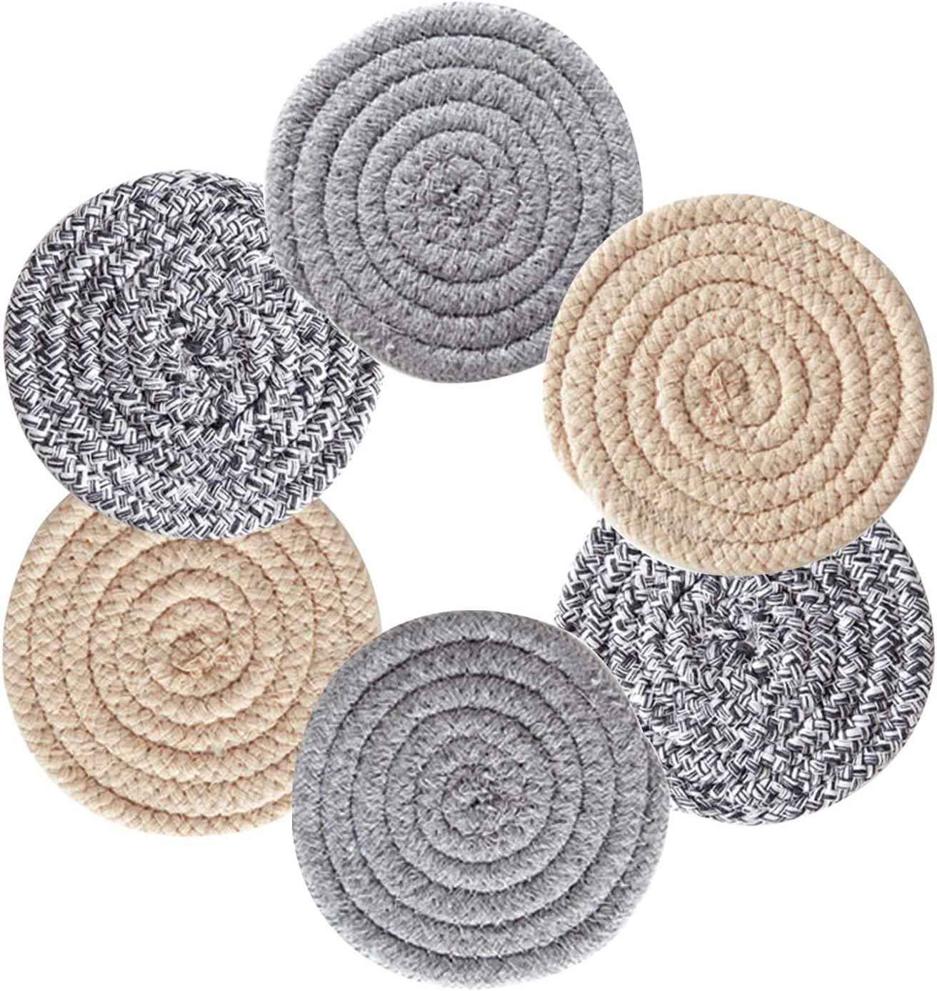 6 Pcs Coasters For Drinks Absorbent,Handmade Braided Drink Coasters Set,Heat-Resistant & Reusable Cloth Coasters,Housewarming Gift(4.3 Inch,Round, 8 mm Thick)