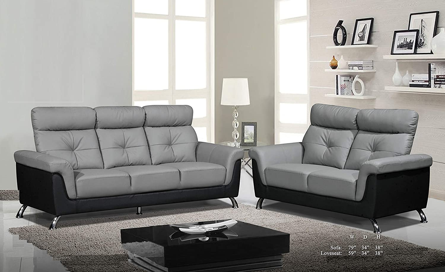 Amazon com esofastore beautiful classic lovely black gray tufted bonded leather sofa and loveseat 2pc sofa set living room furniture kitchen dining