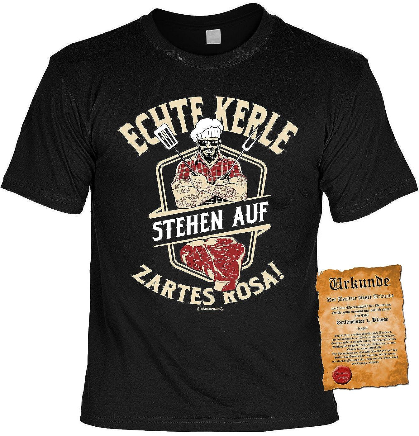 Echte Kerle Stehen auf zartes Rosa Herren Shirts Schwarz Lustiges Geschenk-Set Bedruckt mit Grillmeister-Urkunde Grill T-Shirt f/ür M/änner