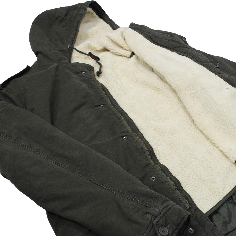 Ciabal/ù Parka Uomo Invernale Lungo con Pelliccia Verde Militare Giubbotto con Cappuccio Slim Fit