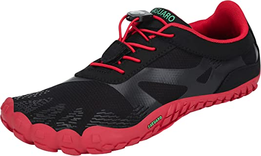 SAGUARO Hombre Mujer Barefoot Zapatillas de Trail Running Minimalistas Zapatillas de Deporte Fitness Gimnasio Caminar Zapatos Descalzos para Correr en Montaña Asfalto Escarpines de Agua, Rojo, 36 EU: Amazon.es: Zapatos y complementos