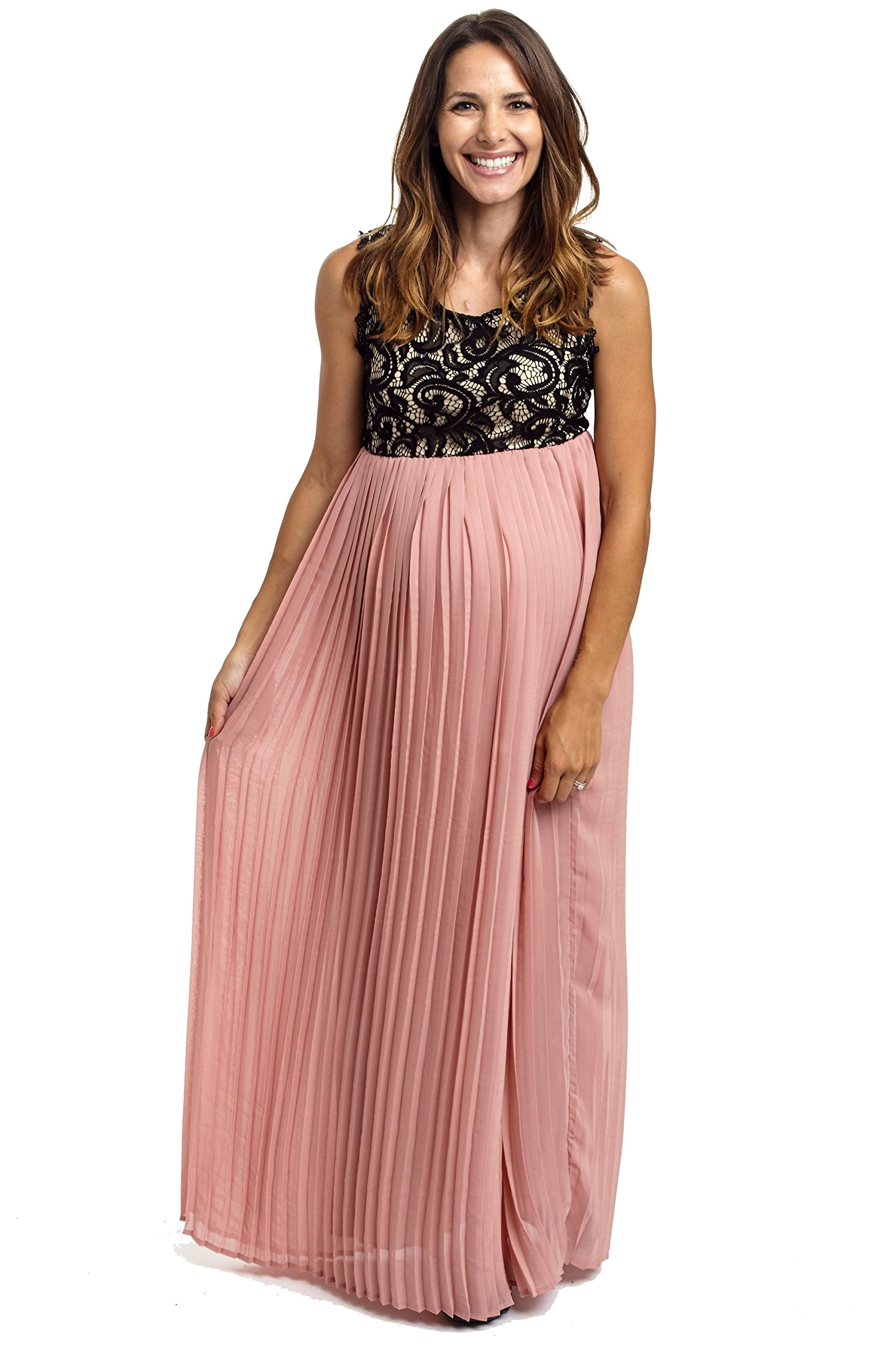 PinkBlush Maternity Pale Pink Pleated Chiffon Lace Top Maternity Maxi Dress, La