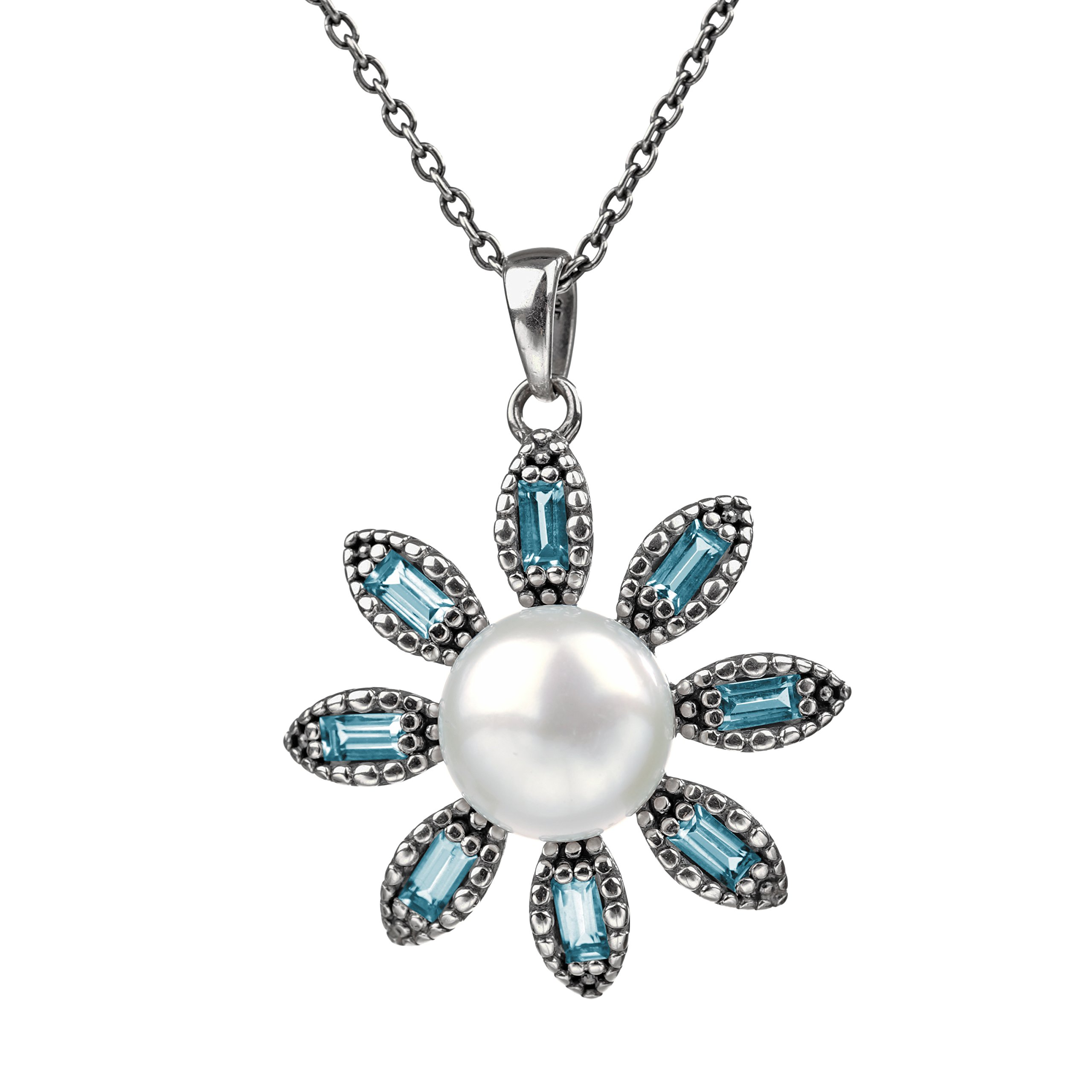 Paz Creations .925 Sterling Silver Cultured Pearl & Blue Topaz Flower Pendant, Made in Israel