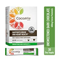 CocoaVia Heart & Brain Supplement, Dark Chocolate Flavor, Unsweetened Drink Mix l Vegan and Plant Based l Cocoa Flavanol Supplement for Improved Cognitive Function and Heart Health l 30 Servings