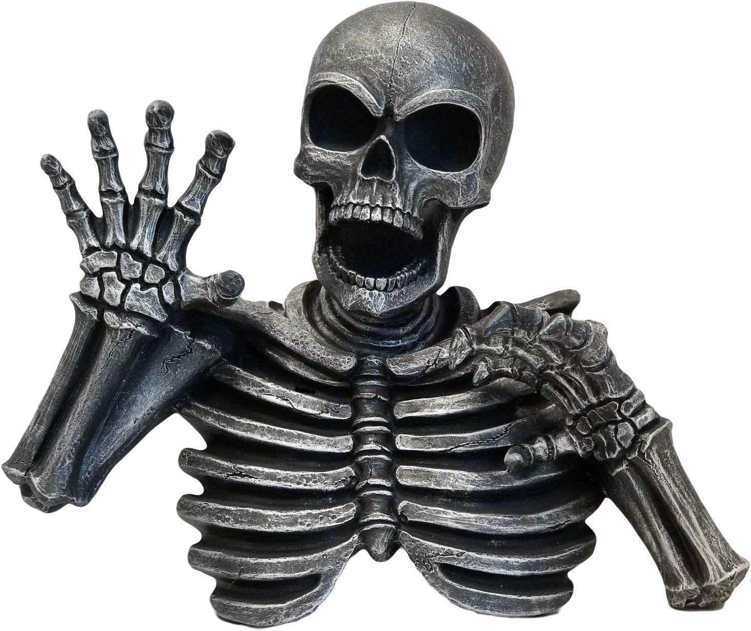 DWK - The Haunting - Creepy Haunted Skeleton Sculpture Spooky Halloween Horror Gothic Wall Mount Decor Accent for Home and Garden, Antique Black Pewter Finish, 14-inch