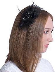"""SIX""""Party"""" Damen Haarschmuck, schmaler Damen Haarreif mit großem Fascinator, schwarze Satin Rose, Schleife aus Tüll, Federn (315-638)"""