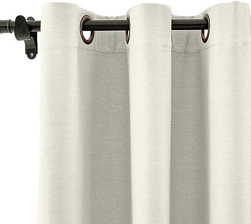 ChadMade Linen Cotton Curtain Panel Grommet Drape with Blackout Liner Blackout Curtain Bedroom Sliding Door Panel, 120 W x 84 L Ivory White, 1 Panel , Capri Collection