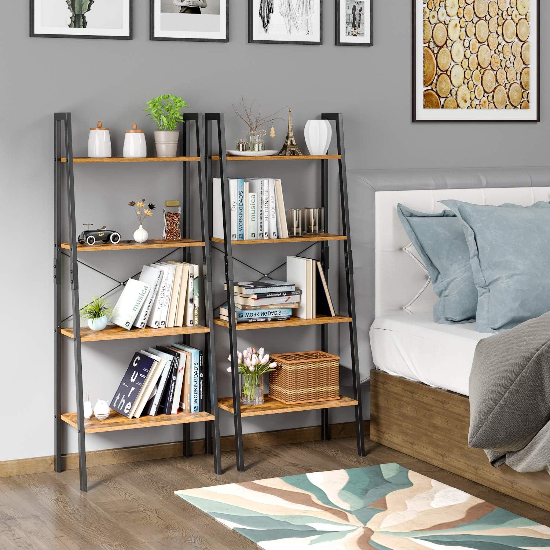 Homfa Regal Treppe Bücherregal Wandregal Metall für Wohnzimmer Terrasse  Schlafzimmer mit 18 Ebenen Vintage und Schwarz 18 x 318,18 x 18 cm