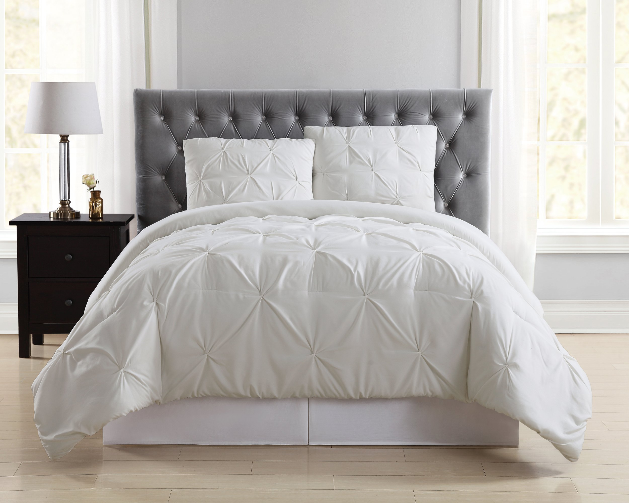 Truly Soft Everyday Pleated Comforter Set, King, Ivory by Truly Soft Everyday