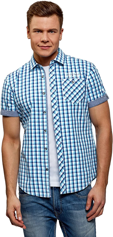 oodji Ultra Hombre Camisa a Cuadros con Dobladillos en Las Mangas