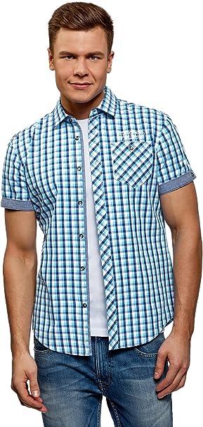 oodji Ultra Uomo Camicia Stampata con Maniche Corte