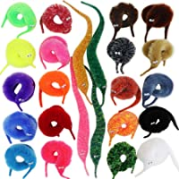 Happy Will 25 Pcs Magic Worm Toys Worm on a String Wiggly Fuzzy Worms Invisible Trick Toys Carnival Party Favors for Kids Cat(4 Sparkling 6 Mixed 15 Pure Colors )