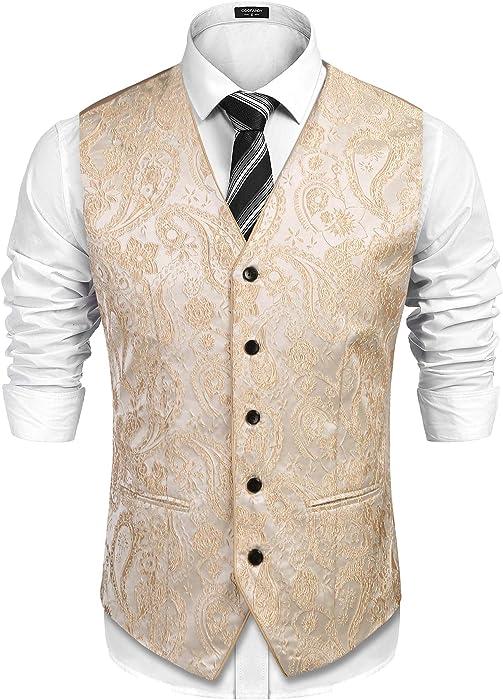0c1d1f951805 COOFANDY Mens s Paisley Suit Vest Formal V-Neck Floral Printed Tuxedo Dress Waistcoat  Vests Beige