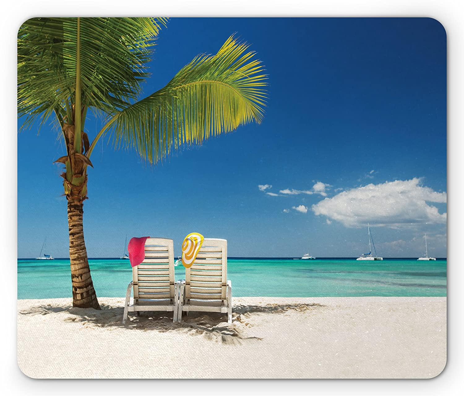 Ambesonne Seaside Mouse Pad, Relaxing Scene on Remote Beach with Palm Tree, Chairs and Boats Panoramic Picture, Standard Size Rectangle Non-Slip Rubber Mousepad, Blue Green
