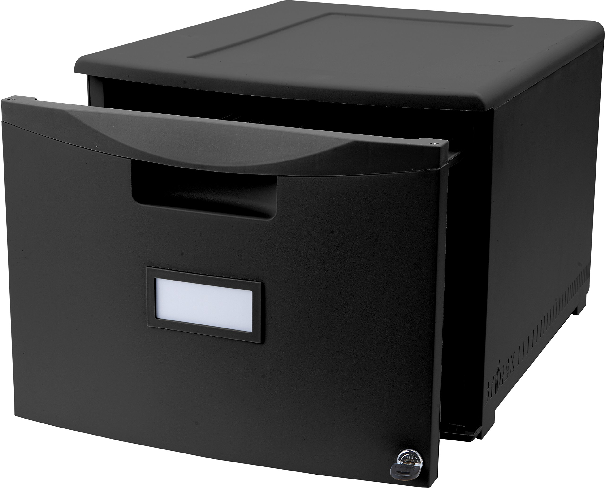 Storex Single Drawer Mini File Cabinet with Lock, Legal/Letter, 18.25 x 14.75 x 12.75 Inches, Black (STX61260B01C)