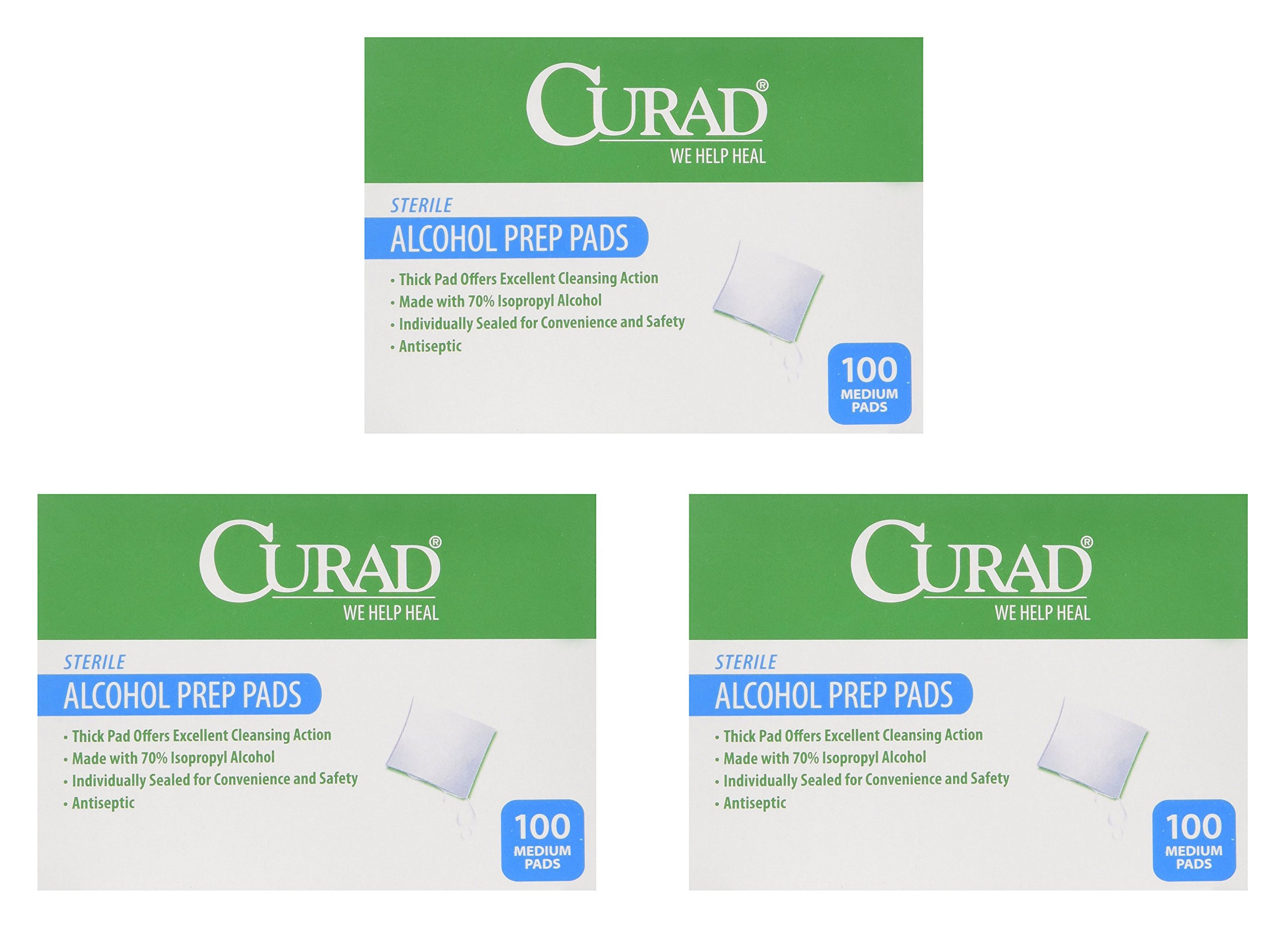 Curad Alcohol Swabs Antiseptic Prep Wipes Sterile Medium Pads Individually Sealed - Ideal for Pre-injection Skin Prepping, 400 Count, 3 Pack