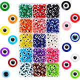 750 Pieces Evil Eye Beads Evil Eye Handmade Resin Beads Charms Round Evil Eye Spacer Beads Turkish Handmade Beads for DIY Jew